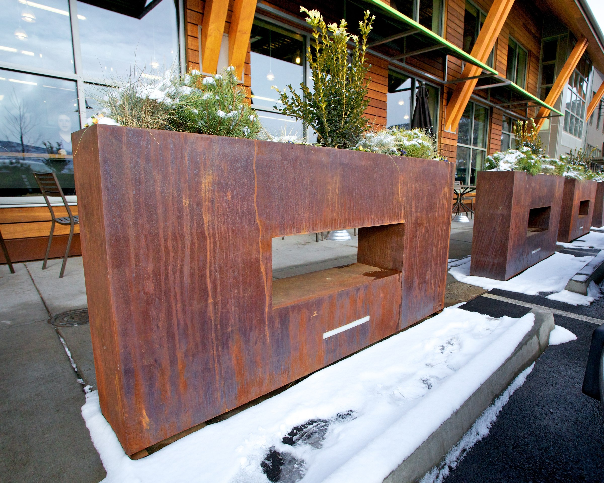 commercial planters at yard art  corporate city hotel - whole foods commercial shopping center planters