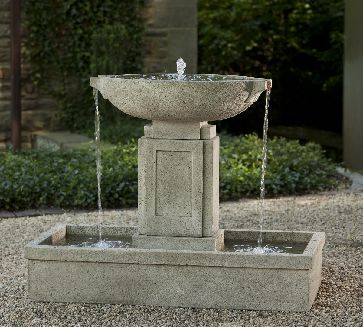 Austin fountain loud cast stone water feature for Backyard water fountains