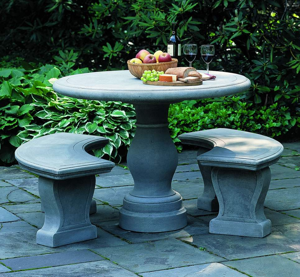 Palladio Table and Benches Outdoor Stone Table with Benches