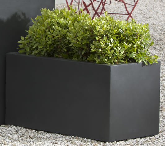 Low Lite rectangle onyx finish lightweight rooftop planter