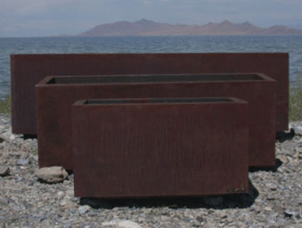 low rectangular planter corten steel