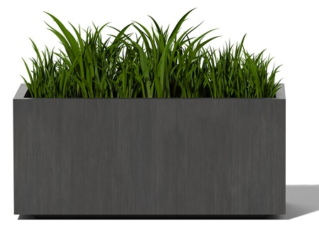 Oxidized Zinc Metal Planter with Grass